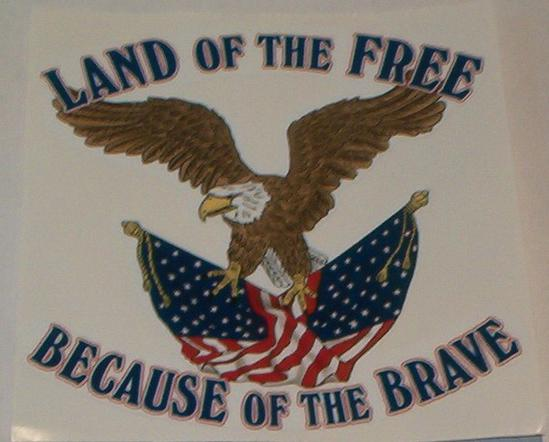 Land Of The Free Because Of The Brave 4 Vinyl Decal Flagsandstuff Com